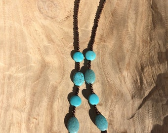 Wood and Turquoise Bead Necklace