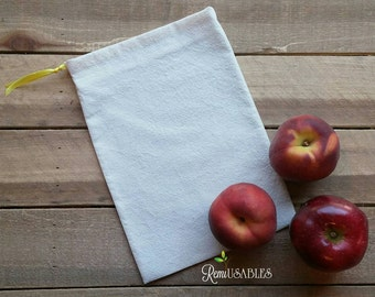 Natural cotton produce bag, reusable produce bag, garden bag, veggie bag, fruit bag, farmers market bag, reusable bag, cotton bag