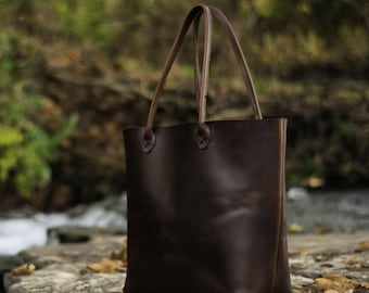 Leather Tote Bag USA Handcrafted Horween