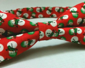 Pre-tied Holiday Snowman Bowtie