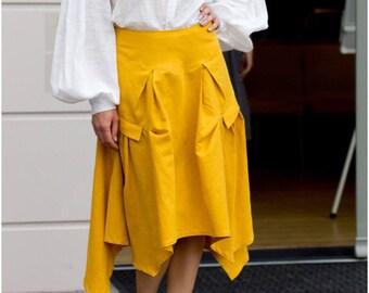 Yellow skirt, linen skirt, summer skirt, Yellow linen skirt, a linen skirt, sunshine skirts,