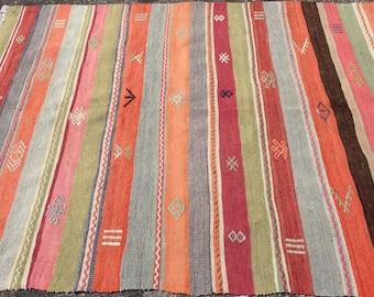 Kilim. Stripped kilim rug, colorful kilim rug, area rug,76.5'' x 54'', Turkish kilim rug, area rug, kelim rug, vintage textile, Turkish, 133