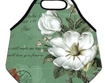 Green&White Floral Lunch Tote-Neoprene Lunch Bag For Women -Custom Lunch Tote-Nature Floral Lunchbox-Custom Lunch Bag-Mother's Day Gift