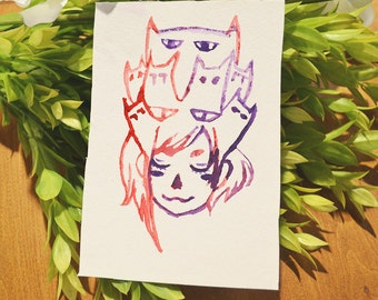 Cats On My Mind Watercolor Print