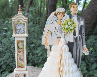"""Vintage Wedding Decoration """"Honeycomb"""" Bride and Groom 50s Japan Art Tissue Paper Bridal Party or Shabby Chic Shower Novelty Gift"""