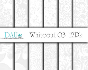 12 Pack Digital Download Whiteout 3 Grey Damask Floral Wedding Download 12x12 300DPI Zip Files Download Scrapbooks Background Packaging