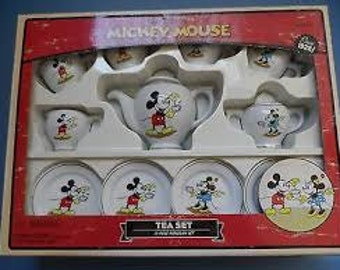 Vintage 13 pc. Mickey and Minnie Mouse Tea Set by Schylling