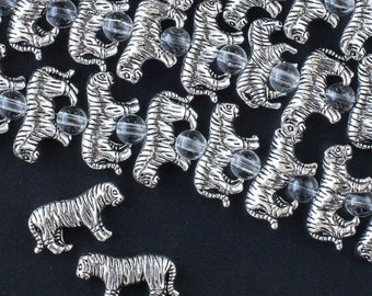 """Antique Silver 11x19mm Tibetan Style Tiger Pewter Beads (One 7"""" Strand)"""