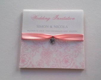 Beautiful rose pocket fold wedding invitations