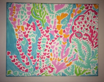 Lilly Pulitzer themed Let's Cha Cha canvas ocean painting