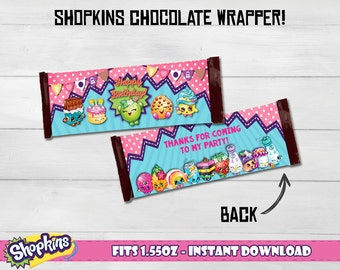 Shopkins chocolate bar wrapper, Shokins chocolate wrappers! Shopkins Hershey's chocolate wrapper. Fit for 1.55oz chocolates!