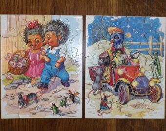 2 puzzles vintage wooden / game for former child / Puzzle vintage / antique wood game / Deco 1950