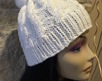 Hand knitted cable knit hat beanie fuzzy pom pom