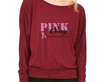 Together We Are Strong Pink Pink Ribbon Faith Love Hope Long-Sleeve Breast Cancer Awareness Flowy Shirt  Pink Ribbon Avon Walk