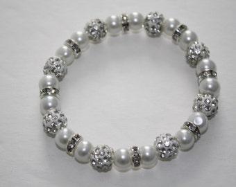 White Pearl Rhinestone Bracelet, White Pearl Bracelet, White Pearl Wedding Bracelet