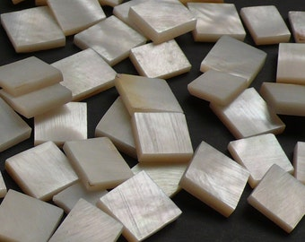 Vintage Mosaic Supply, Mother of Pearl - 8-12 mm square mix - 48 pcs - F9