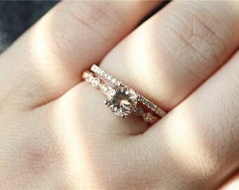 Unique wedding ring etsy unique wedding ring set 14k rose gold morganit engagement ring diamond wedding band junglespirit Choice Image