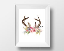 SALE -  Floral Antlers, Shabby Chic, BOHO, Baby Girl Nursery, Dorm Wall Art Print, Floral Flower Nature Poster, Watercolor Paint