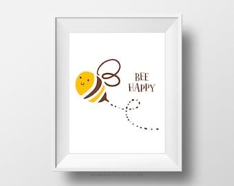 sale bee happy bee pun animal pun cute pun humor happy quote joy poster happiness cartoon bee baby nursery dorm office baby nursery cool bee animal