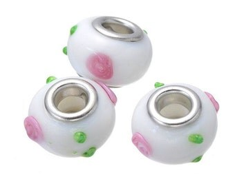 5 Glass Lampwork European Beads White with Pink Flower Bead 14mm Fits Wide Hole Charm Bracelets -2O