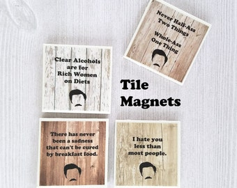 Ron Swanson Magnets Parks and Recreation Tile Magnets Ron Swanson Print Parks and Recreation Gift Funny Magnets Funny Guy Gift for Guy - 4