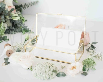 Glass Box Styled Stock Photo for Instagram or Blog Header | Bridal Shower Wedding Invitation Mockup Image Social Media Floral Picture