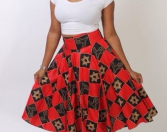 Red/Black Ankara Skirt