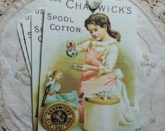 FOUR Vintage Cotton Thread Doll Sewing Hang Tags / Gift tags