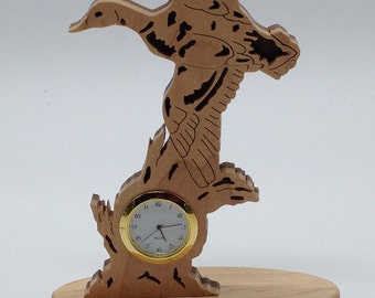 Nature's Majesty Mallard in Flight Desk/Shelf Clock - Maple & Walnut