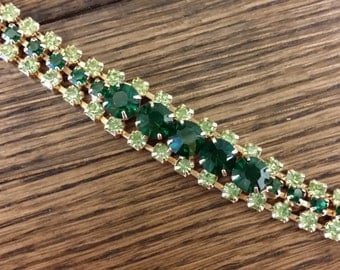 Emerald and Mint Green Vintage Rhinestone Bracelet