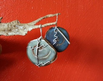 Sterling silver and stoneware pendant - dark blue