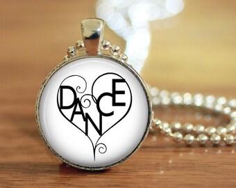 Dance, Dance Heart, Dance Jewelry, Dance Necklace, Dancer, Dancer Gift, Dance Word, Dance Teacher, Gift, Dance Pendant,
