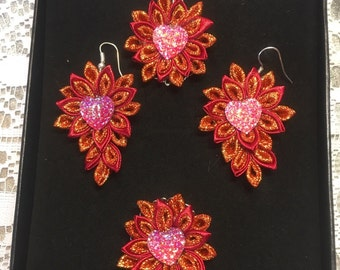 Kanzashi red jewellery set