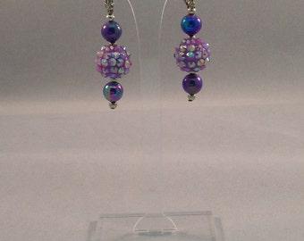 Lavender Iridescent Dangle Earrings - Clip Ons