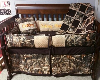 Camouflage Nursery Bedding, Real tree 4D Camo Nursery, Boy Nursery, Custom Baby Bedding