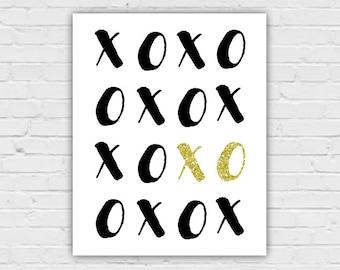 XOXO Art, Black White Gold Art, Black White Gold, Black White Gold Decor, Black White Gold Wall Art, Black and Gold Decor, Black and Gold