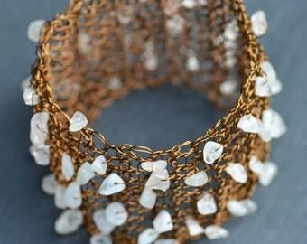 Wire crochet gemstone bracelet