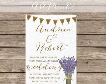 Lavender Wedding Invitation Printable, Rustic Wedding Invitation, Country Wedding Invite, Gold Wedding Invitation Printable
