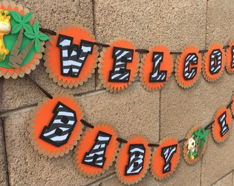 Safari Welcome Baby, Safari Baby Shower, Name Banner,