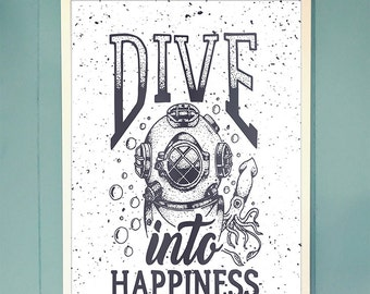 Nautical Wall Art, Coastal Wall Decor, Diving Quote Poster, Dive Into Happiness, Antique Diving Helmet, Inspirational Quote, Beach Cottage