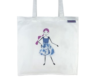 SALE !!! - Tote Bag,  Library Bag, Shopping Bag - Girl with Blue Dress