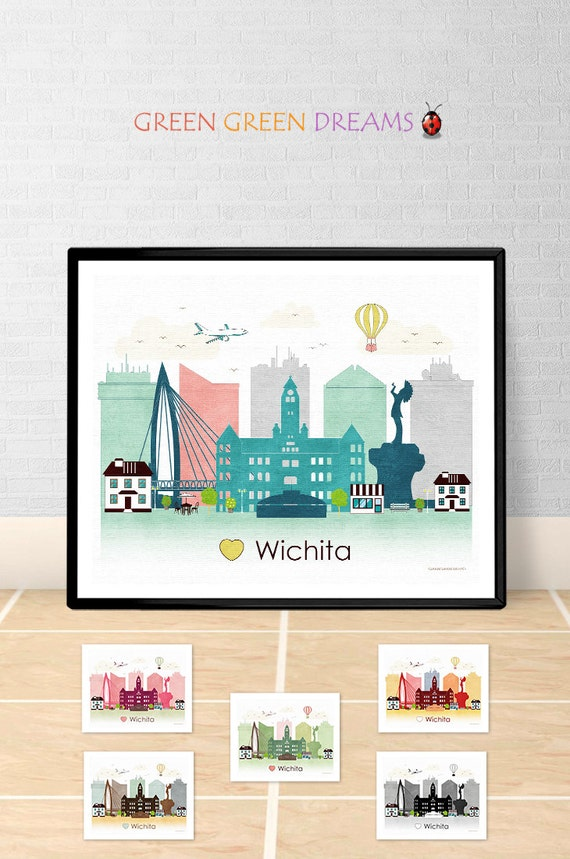 Wichita poster print wall art printable wichita kansas wichita for Craft stores wichita ks