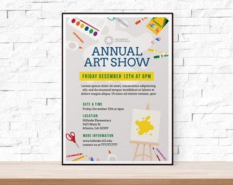 DIY Printable School Art Show Flyer Template, Word Flyer Templates, Event  Flyer Template,  Event Flyer Template Word