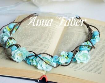 Bridal crown, Floral crown, wedding flower crown, turquoise flower crown, wedding crown, floral head wreath.