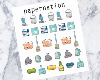 Kawaii Cleaning Mini Sheet//Planner Stickers