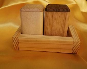 Wood Salt &Pepper Shakers w/ Holder