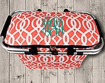 Coral trellis pattern insulated zippered market tote
