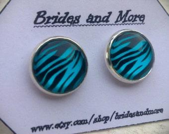 Zebra Studs Zebra Earrings Emo Earrings Zebra Print Studs Animal Print Jewelry Stud or Dangle Earrings Animal Print Earrings Zebra Jewelry