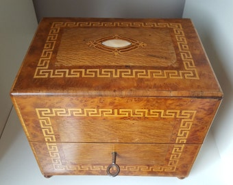 Box, box jewelry 19th marquetry and inlay - 20574