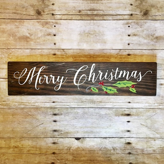 Merry christmas sign christmas sign wood by cherryhollowlane for Large outdoor christmas signs